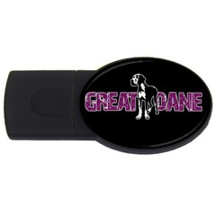 Great Dane Usb Flash Drive Oval (4 Gb) by Valentinaart