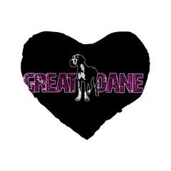 Great Dane Standard 16  Premium Heart Shape Cushions by Valentinaart