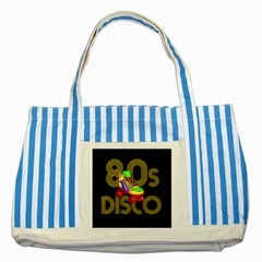 Roller Skater 80s Striped Blue Tote Bag by Valentinaart