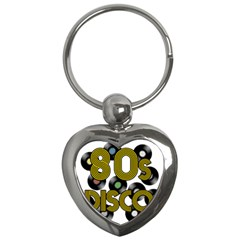 80s Disco Vinyl Records Key Chains (heart)  by Valentinaart