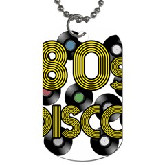 80s Disco Vinyl Records Dog Tag (one Side) by Valentinaart
