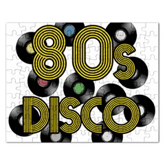 80s Disco Vinyl Records Rectangular Jigsaw Puzzl by Valentinaart