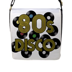 80s Disco Vinyl Records Flap Messenger Bag (l)  by Valentinaart