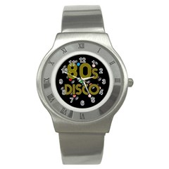 80s Disco Vinyl Records Stainless Steel Watch by Valentinaart