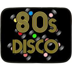 80s Disco Vinyl Records Fleece Blanket (mini) by Valentinaart