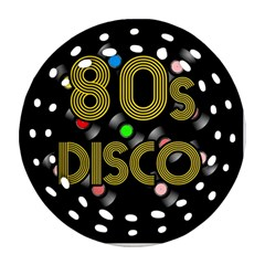 80s Disco Vinyl Records Round Filigree Ornament (two Sides) by Valentinaart