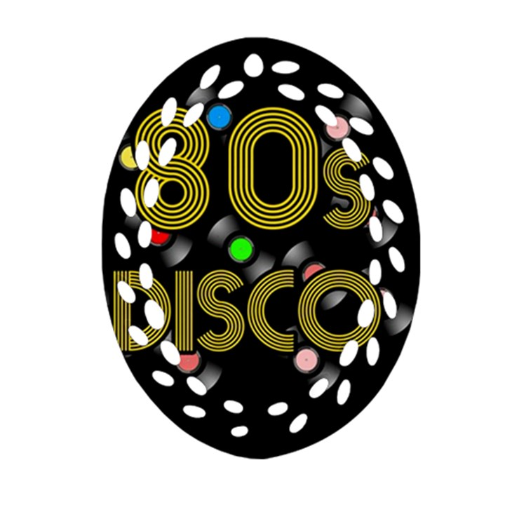 80s disco vinyl records Oval Filigree Ornament (Two Sides)