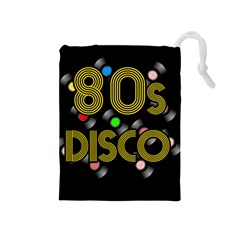 80s Disco Vinyl Records Drawstring Pouches (medium)  by Valentinaart