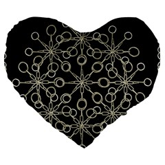 Ornate Chained Atrwork Large 19  Premium Flano Heart Shape Cushions by dflcprints