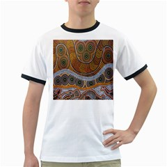 Aboriginal Traditional Pattern Ringer T Shirts by Onesevenart