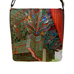 Traditional Korean Painted Paterns Flap Messenger Bag (l)  by Onesevenart