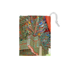 Traditional Korean Painted Paterns Drawstring Pouches (small)  by Onesevenart