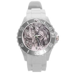 Chinese Dragon Tattoo Round Plastic Sport Watch (l) by Onesevenart