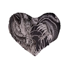 Chinese Dragon Tattoo Standard 16  Premium Flano Heart Shape Cushions by Onesevenart