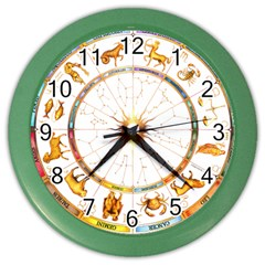 Zodiac  Institute Of Vedic Astrology Color Wall Clocks by Onesevenart