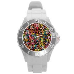 Art Traditional Pattern Round Plastic Sport Watch (l) by Onesevenart