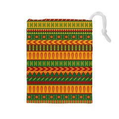 Mexican Pattern Drawstring Pouches (large)  by Onesevenart