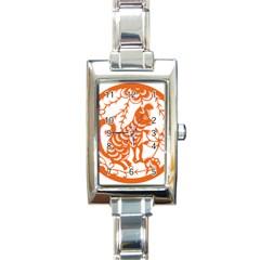 Chinese Zodiac Dog Rectangle Italian Charm Watch by Onesevenart