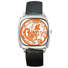 Chinese Zodiac Dog Square Metal Watch by Onesevenart