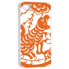 Chinese Zodiac Dog Apple Iphone 4/4s Seamless Case (white) by Onesevenart