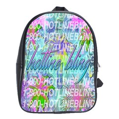 Drake 1 800 Hotline Bling School Bags (xl)  by Onesevenart