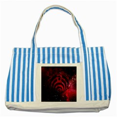 Bassnectar Galaxy Nebula Striped Blue Tote Bag by Onesevenart