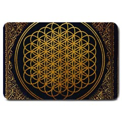 Bring Me The Horizon Cover Album Gold Large Doormat  by Onesevenart