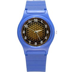 Bring Me The Horizon Cover Album Gold Round Plastic Sport Watch (s) by Onesevenart
