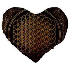 Bring Me The Horizon Cover Album Gold Large 19  Premium Heart Shape Cushions by Onesevenart