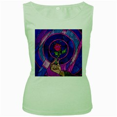 Enchanted Rose Stained Glass Women s Green Tank Top by Onesevenart
