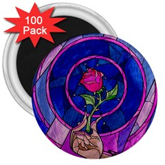 Enchanted Rose Stained Glass 3  Magnets (100 Pack) by Onesevenart