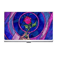 Enchanted Rose Stained Glass Business Card Holders by Onesevenart