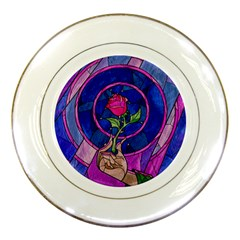 Enchanted Rose Stained Glass Porcelain Plates by Onesevenart