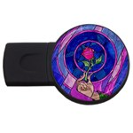 Enchanted Rose Stained Glass USB Flash Drive Round (4 GB)