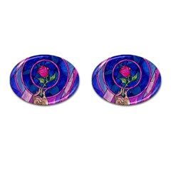 Enchanted Rose Stained Glass Cufflinks (oval) by Onesevenart