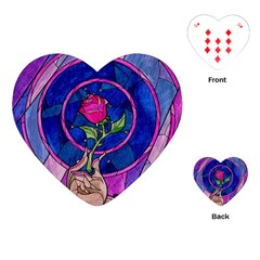 Enchanted Rose Stained Glass Playing Cards (heart)  by Onesevenart