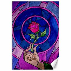 Enchanted Rose Stained Glass Canvas 12  X 18   by Onesevenart