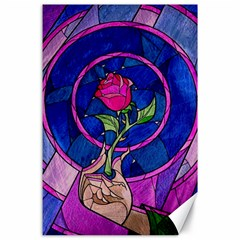 Enchanted Rose Stained Glass Canvas 24  X 36  by Onesevenart
