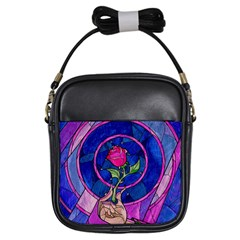 Enchanted Rose Stained Glass Girls Sling Bags by Onesevenart