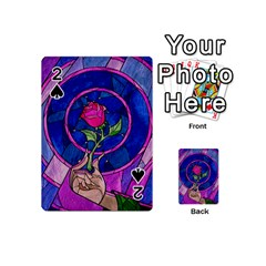 Enchanted Rose Stained Glass Playing Cards 54 (mini)  by Onesevenart