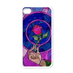 Enchanted Rose Stained Glass Apple Iphone 4 Case (white) by Onesevenart