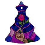 Enchanted Rose Stained Glass Christmas Tree Ornament (Two Sides)