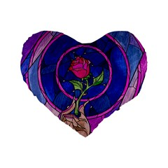 Enchanted Rose Stained Glass Standard 16  Premium Heart Shape Cushions by Onesevenart
