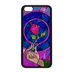 Enchanted Rose Stained Glass Apple Iphone 5c Seamless Case (black) by Onesevenart