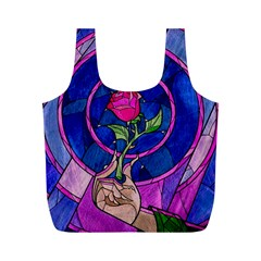 Enchanted Rose Stained Glass Full Print Recycle Bags (m)  by Onesevenart
