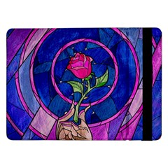 Enchanted Rose Stained Glass Samsung Galaxy Tab Pro 12 2  Flip Case by Onesevenart