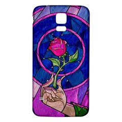 Enchanted Rose Stained Glass Samsung Galaxy S5 Back Case (white) by Onesevenart
