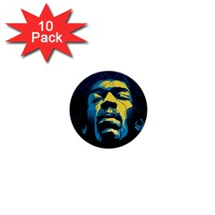 Gabz Jimi Hendrix Voodoo Child Poster Release From Dark Hall Mansion 1  Mini Buttons (10 Pack)  by Onesevenart