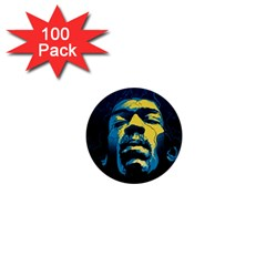 Gabz Jimi Hendrix Voodoo Child Poster Release From Dark Hall Mansion 1  Mini Buttons (100 Pack)  by Onesevenart