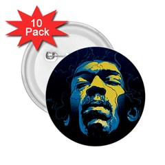 Gabz Jimi Hendrix Voodoo Child Poster Release From Dark Hall Mansion 2 25  Buttons (10 Pack)  by Onesevenart